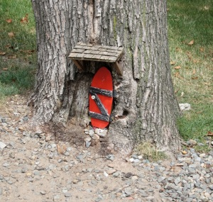 Rabbit sized Winnie the Pooh style door in tree