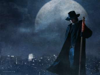 Harry Dresden in front of Chicago skyline
