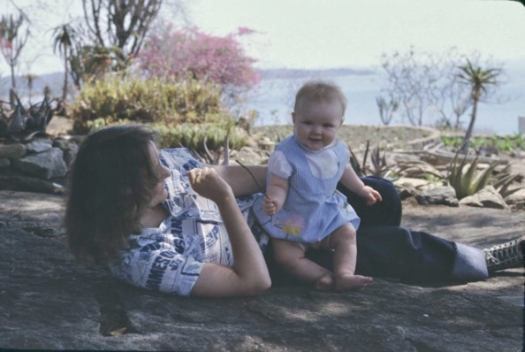 My mother and me at six months, in front of Lake Kyle