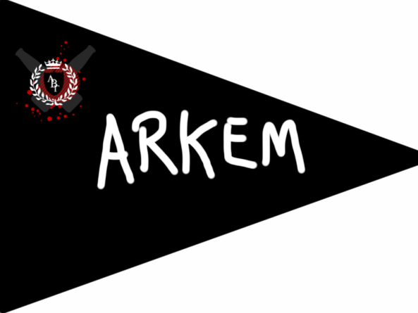 Flag that reads 'Arkem' and includes the Carpe Brewski style Alpha Beta Gamma logo as drawn by thereisthisgap