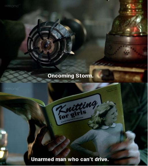 Diptych. First panel shows Eleven's sonic screwdriver with the caption 'Oncoming storm'. The second is an image of the doctor reading a 'Knitting for Girls' magazine with the caption 'Unarmed man who can't drive'.