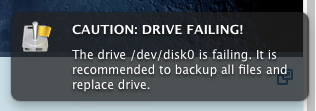 "Screenshot of notification that states: ""Caution: Drive Failing!"""
