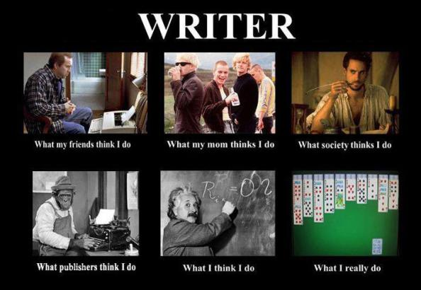 panel of images of varying viewpoints on what a writer does with their time