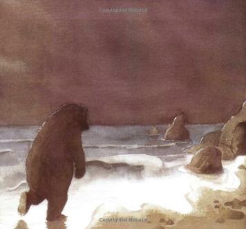 "sad bear alone by the sea shore - image from ""We're Going on a Bear Hunt"""