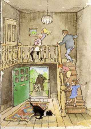 "family running into house and up stairs, through the door they've left open you can see the bear carefully opening the gate - image from ""We're Going on a Bear Hunt"""