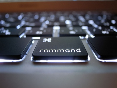 backlit command button on a macbook air