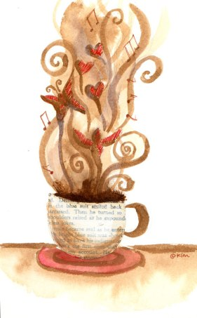 painting of a coffee cup with butterflies and hearts and musical notes rising in the steam