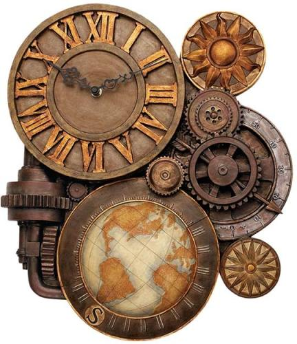 Several clocks and gears and an image of a globe interweaving