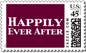 US Mail stamp with the text 'HAPPILY EVER AFTER' printed on it