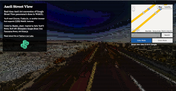 Screenshot from the ASCII Street View generator, showing an open highway and dark blue sky rendered ASCII style