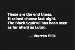 These are the end times. It rained cheese last night. The Black Squirrel has been seen as far afield as Luton. — Warren Ellis