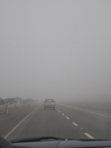 view from interior of car of a street disappearing into fog with a truck at the limit of vision ahead