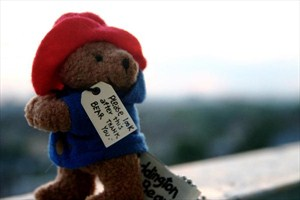 Plush Paddington Bear toy in trademark blue coat and red hat with label around his neck reading: Please look after this bear.