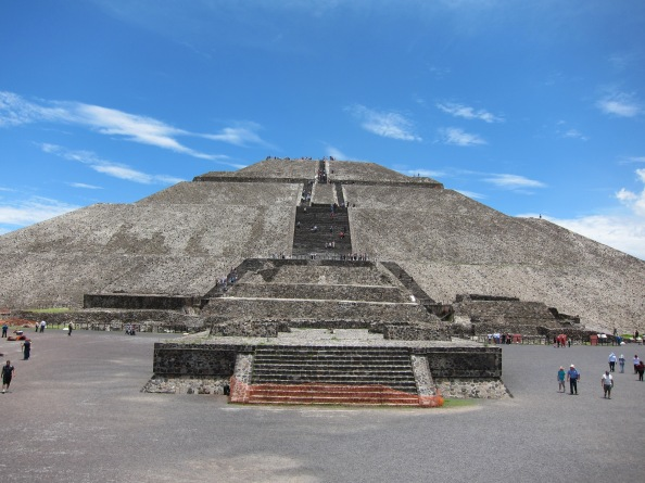 View from the base of the stairs leading up the side of the temple of the sun pyramid at Teotihuacán