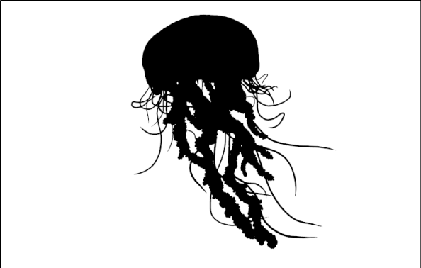 silhouette of flying squid/jellyfish type thing