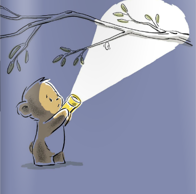 "A page from ""Don't Worry Bear"" by Greg Foley, showing the little bear outside at night, shining his flashlight up at his cocooned caterpillar friend in the tree with a concerned expression."