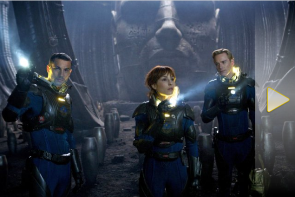 "Screen capture from the movie ""Prometheus"" picturing three space suited people on an alien planet WITHOUT THEIR HELMETS"