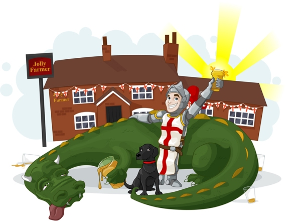 Against the background of an English pub a dragon, clearly drunk and somewhat the worse for wear, slumps on the ground surrounded by empties and clutching his current glass of beer. A knight, dressed in the style of St George stands with one hand proprietarily on the dragon's back and the other raising his own glass triumphantly in the air. There is also a dog.