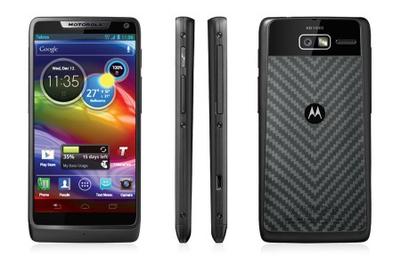 Front, side and back view of the Motorola Razr M mobile phone. Basically looks like a phone, the back has an unusual textured pattern.
