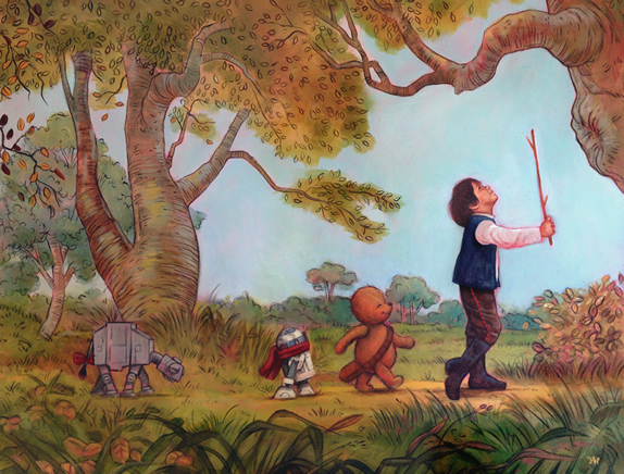 In the art style of Winnie the Pooh four characters are walking down the path. The leader is a boy (dressed as Han Solo), the second is a bear (with a striking resemblance to a certain wookie), the third a miniature R2-D2 with a red scarf tied around his neck and the fourth, several steps behind, a miniature AT-AT walker with a drooping head and a red ribbon tied into a bow on its tail.