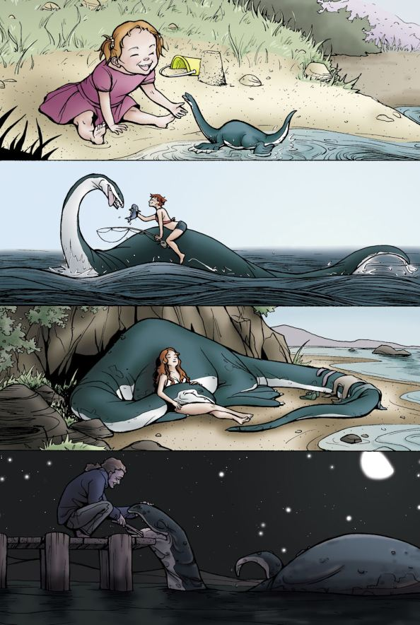 Four panels representing the passing of time. The first shows a small child playing on the sand with an itty bitty loch ness monster style creature. The second shows them perhaps in their teens, out at sea, fishing together. The third, they are fully grown having a nap on the beach wound around one another. In the last they are both aged and it is night. The woman crouches at the end of the dock to care for the old monster.