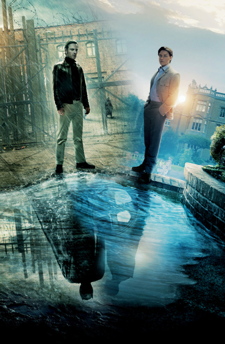 Poster for X-Men: First Class that shows the young Magneto and Professor X (played by Michael Fassbender and James McAvoy) reflected in the water at their feet as their future versions, Magneto and Professor X, complete with cape, helmet and wheelchair respectively.