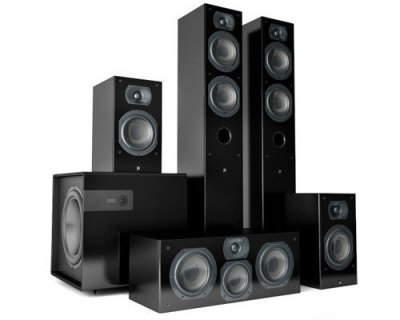 Black wooden 5.1 speaker system of exceptional charm and grace