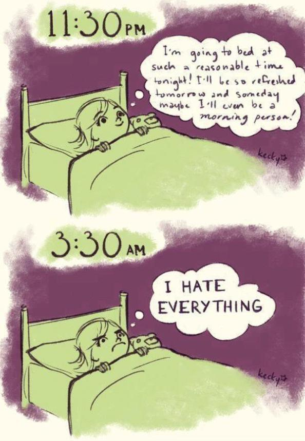 Two panel comic. A young girl lies in bed. The first panel is labelled 11:30pm. The girl thinks: I'm going to bed at such a reasonable time tonight! I'll be so refreshed tomorrow and someday maybe I'll even be a morning person! The second panel is labelled 3:30am. The girl thinks: I HATE EVERYTHING