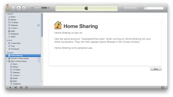 Reference pic of itunes with home sharing turned on, displaying shared itunes libraries in the sidebar.