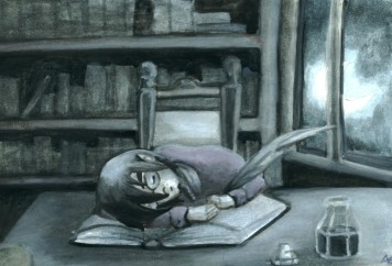 Writer asleep over a book, quill still in hand, ink pot at the ready.