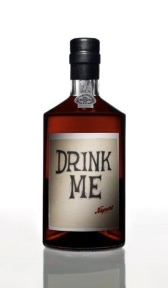 Bottle of port with the label 'DRINK ME'