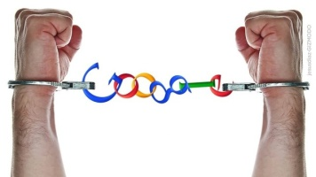 Handcuffed hands where the chain between is made of the word 'Google'