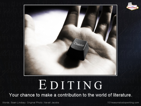 A hand with a delete key resting in the centre of it. Caption reads: Editing - Your chance to make a contribution to the world of literature.