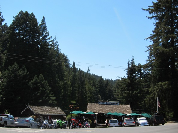Alice's restaurant. With pine trees in the background and an array of cars and motorbikes in front.