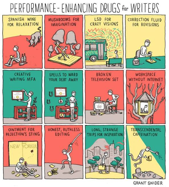 Twelve panels entitled 'Performance-enhancing drugs for writers'. The illustrated panels are named: Spanish wine for relaxation, mushrooms for imagination, LSD for crazy visions, correction fluid for revisions, creative writing MFA, spells to ward your debt away, broken television set, workspace without internet, ointments for rejection's sting, honest, ruthless editing, long, strange trips for inspiration and transcendental caffeination.