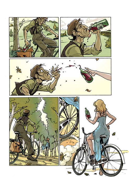 A man on a bicycle rides along a rode drinking from a bottle of wine. A woman in a blue dress, rides past on her own bicycle and steals the bottle out of his hand.