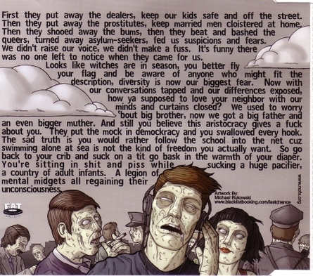 "Back of album cover for NOFX's ""Regaining Unconsciousness"". A group of zombies listening to music. Above them the lyrics of the song are written through the clouds."