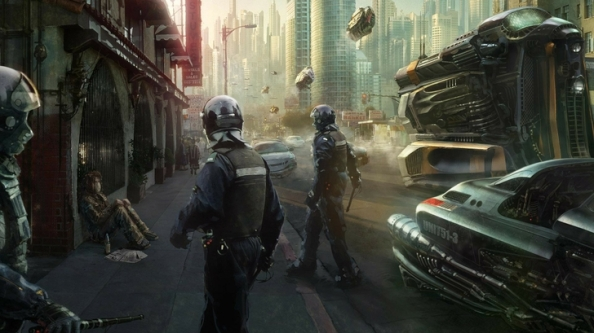 science fiction cityscape with policemen in the foreground