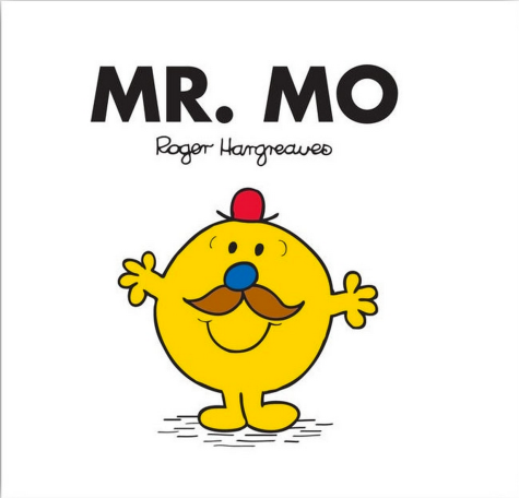 Cover of 'Mr Mo' by Roger Hargreaves. A white square featuring the title and author with the titular character featured underneath. Mr Mo is a mustard yellow, circular individual with a tiny red bowler hat a blue nose a splendid moustache and a big smile.