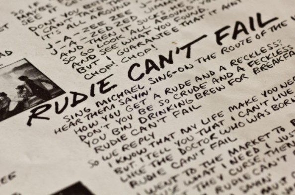 "Liner notes of The Clash's album ""London Calling"" focusing on the lyrics to their song ""Rudie Can't Fail"""