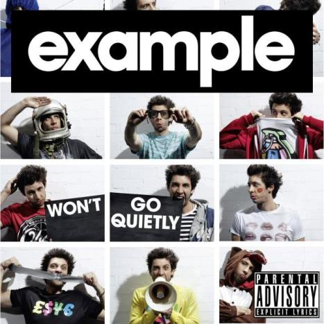 "Cover for Example's album ""Won't go quietly."" Posed a series of mugshots with the artist alternatively saluting while wearing an astronaut's helmet, peering through backwards sunglasses, hiding behind his t-shirt, scratching his head, gnawing on the board, looking a little lost with lipstick on his cheek in the shape of lips, biting a piece of duct tape, talking through a megaphone and dressed in a onesie."