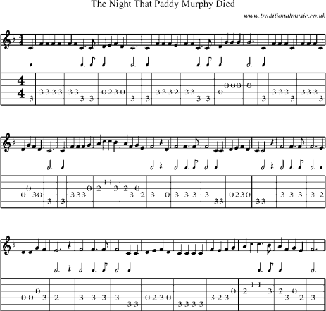 "Guitar Tab and Sheet Music for ""The Night That Paddy Murphy Died"""