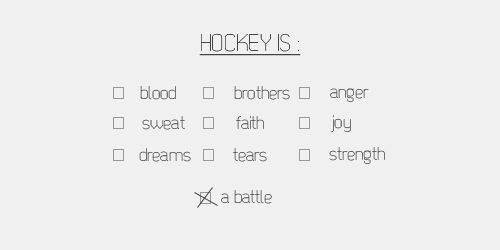 Checkbox list with the heading 'Hockey is:' Options include: blood, brothers, anger, sweat, faith, joy, dreams, tears, strength. But the one that's marked is 'a battle'.
