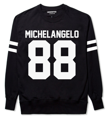 Sports-style sweatshirt with the number 88 and the name Michelangelo. Because you gotta support your favourite artists, yo. :P