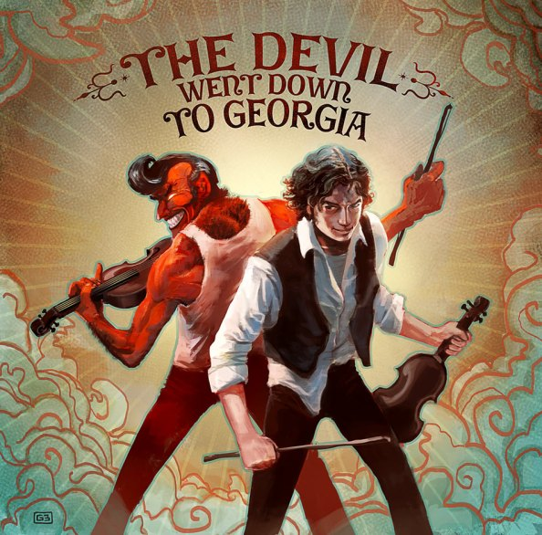 The Devil and Johnny back to back, brandishing their fiddles. The Devil's got a big grin and an elvis curl to his hair. Johnny's got his bow in a strong grip and a knowing smirk on his face.