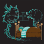 A child sleeps in their bed. The spirit of a monster emanates from a crack under the bed and rises to threaten the child. A growling defensive bear spirits emanates from the teddy bear on the child's bed, protecting the child.